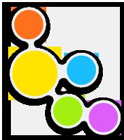 Über dem Titel Tabellierung ist eine bunte Figur mit 5 Kreisen zu sehen.