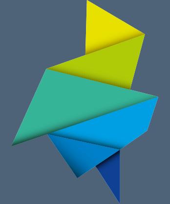 Das Bild beinhaltet eine der Stärken von IfaD: kreative maßgeschneiderte Lösungen. Daneben eine abstrakte Grafik, die einem gefalteten bunten Papier entspricht.