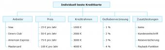 Zu sehen ist eine baumartige Darstellung von Kreditkarten-Optionen, die den Analytic Hierarchy Process (AHP) illustriert.