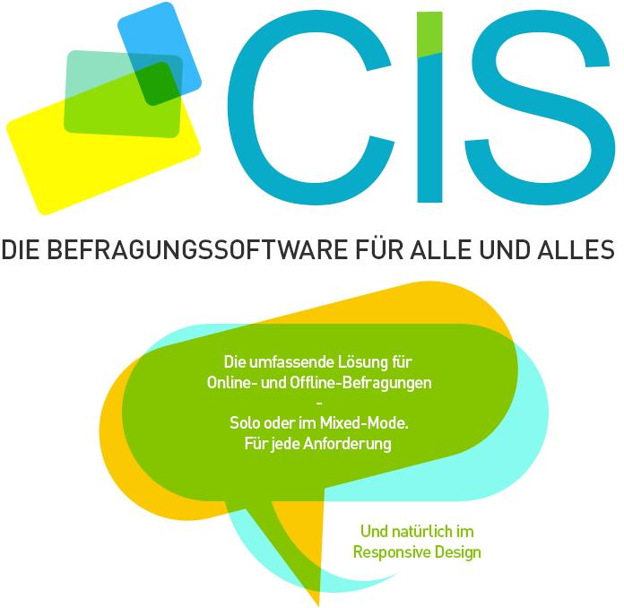 Zu sehen ist eine Zusammenstellung der wichtigsten Argumente für die Befragungssoftware CIS in Form von 5 kleinen Button in Form von Sprechblasen.