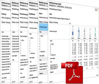 Zu sehen sind 6 halb aufgeklappte Tabellen aus dem Data Processing. Angeklickt führen sie zu einem pdf zum Thema Tabellierung.