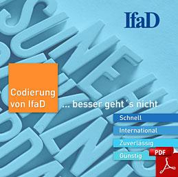 Zu sehen ist die quadratische Titelseite der Broschüre Codierung von IfaD. Als Link führt sie zum pdf.
