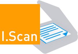 Zu sehen ist ein orangefarbenes Quadrat, in dem I.Scan, die Software zum Scannen steht. Daneben ein stilisierter Scanner.