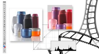 Der Grafik-Service wird mit einer Darstellung verschiedener neutraler Kosmetikverpackungen, Werkzeugleiste und Bearbeitungsfarbkurven dargestellt.