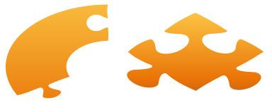 Die abstrakte Grafik zum Thema Merkmale identifizieren aus orangefarbenen und grauen Tönen zeigt zwei Steine aus einem Puzzlespiel.