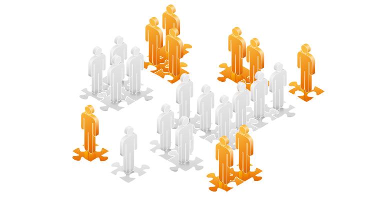 Die abstrakte Grafik zum Thema Markt-Positionierungen aus orangefarbenen und grauen Tönen zeigt stilisierte Figuren, die auf einem halb fertigen Puzzlespiel stehen.