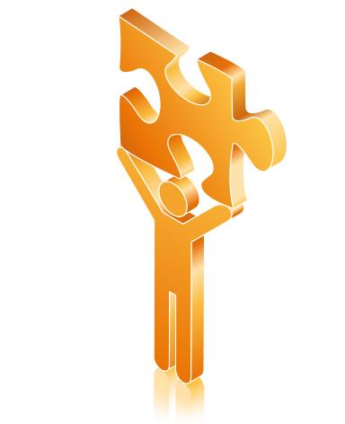 Die abstrakte Grafik zum Thema Preise optimieren aus orangefarbenen und grauen Tönen zeigt eine stilisierte Figur, die ein Stein aus deinem Puzzlespiel trägt.