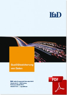Die rechteckige Abbildung zeigt das Titelblatt der Broschüre Qualitätssicherung von Daten.