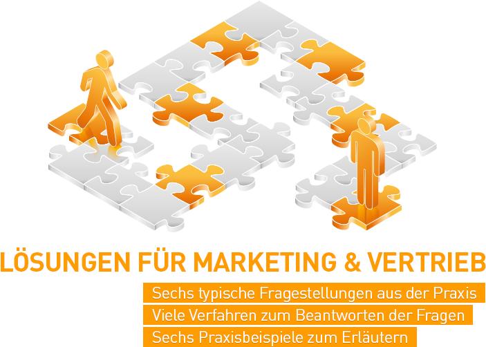 Die abstrakte Grafik zum Thema Lösungen für Marketing und Vertrieb aus orangefarbenen und grauen Tönen zeigt stilisierte Figuren auf einem halb fertigen Puzzlespiel.