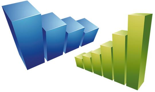 Die abstrakte Grafik zu TURF-Analysen zeigt zwei dreidimensionale Treppen wie Balkendiagramme.
