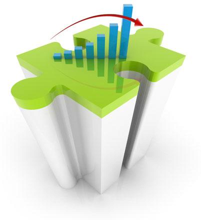 Die abstrakte Grafik zu Marktsimulationen zeigt ein dreidimensionales Puzzleteil mit einem dynamischen Pfeil.