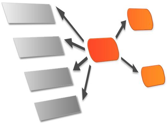 Die abstrakte Grafik zu Kausalanalysen zeigt ein dreidimensionales Modell aus Elementen von abhängigen und unabhängigen Variablen.