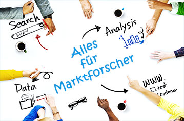 Zu sehen ist ein imaginärer Tisch, auf dem 11 Hände irgendetwas für die Marktforschung tun, Data Sciences, Analyse, Search etc.