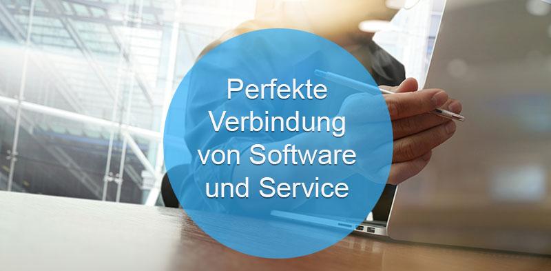 Das Bild zeigt einen Menschen, der für Data Sciences auf einem Analyzer arbeitet. Der Text darauf: Perfekte Verbindung von Software und Services.