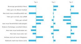 Die Abbildung zeigt 3 Profile von Autofahrer-Typen in dieser Clusteranalyse (Abweichung vom Durchschnitt) anhand von 11 Items.