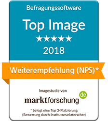 News im Dezember 2018: Das Beste von der Befragungssoftware CIS ist laut marktforschung.de Image-Studie 2018: die Weiterempfehlungsbereitschaft (NPS) die Serviceorientierung, Innovation & Kreativität, das Preis-Leistungs-Verhältnis und der Funktionsumfang.