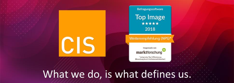 Das Beste von der Befragungssoftware CIS ist laut marktforschung.de Image-Studie 2018: die Weiterempfehlungsbereitschaft (NPS) die Serviceorientierung, Innovation & Kreativität, das Preis-Leistungs-Verhältnis und der Funktionsumfang.
