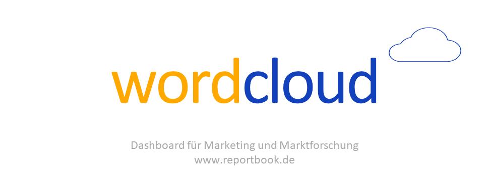 Bestes vom Dashboard reportbook.de für Marketing und Marktforschung .- Textanalyse offener Nennungen mit dynamischer WordCloud