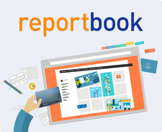 Eine Hand ordnen auf einem Laptop Bausteine eine Berichts mit reportbook