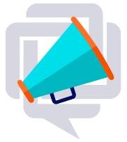 Eine abstrakte Grafik aus einem farbigen Megaphone und einer Sprechblase weist auf den Blog von IfaD hin
