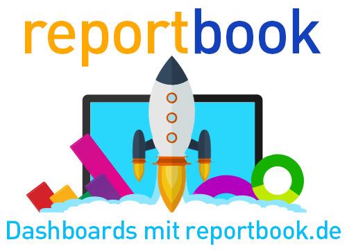Wir sehen eine abstrakte bunte Rakete und weitere Symbole, dabei geht es um das Dashboard reportboo